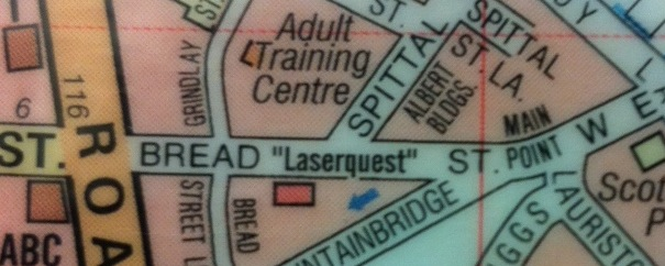 "Map showing Bread ""Laserquest"" Street."