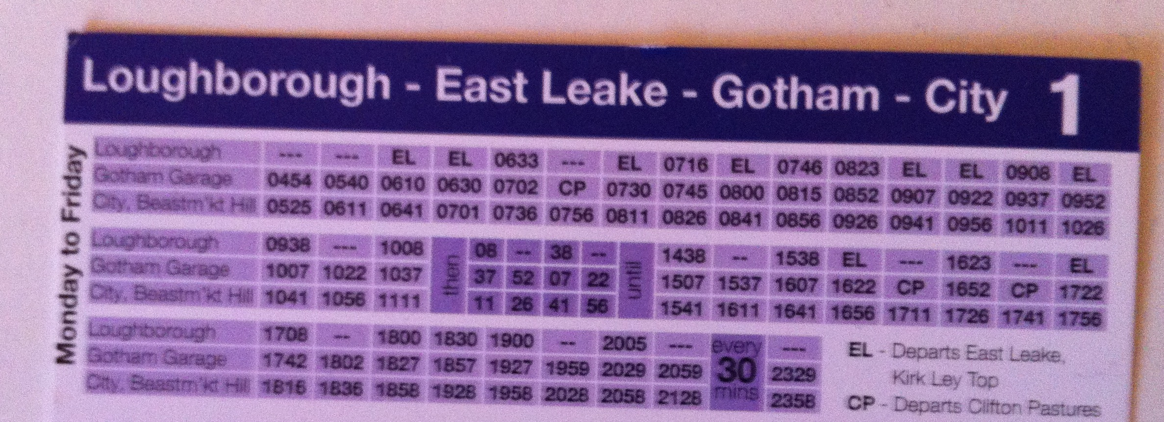 Bus Timetable: Loughborough - East Leake - Gotham - City