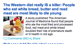 People who eat white bread, butter and read meat are most likely to die young.