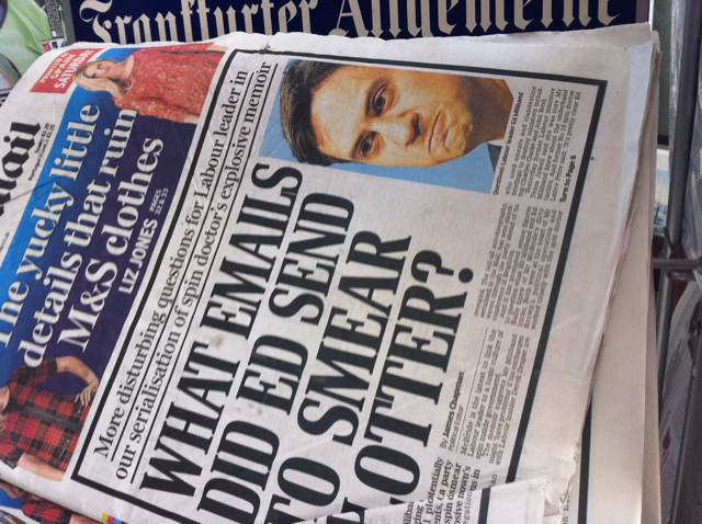 "Folded newspaper reveals the headline ""What emails did Ed send to smear otter?"""