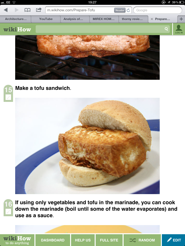 """""""make a tofu sandwich"""" (an oversized piece of tofu forcing its way our of a small bread roll)"""