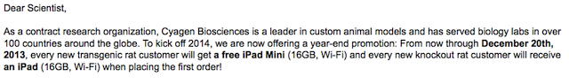 every new transgenic mouse customer will get a free iPad mini
