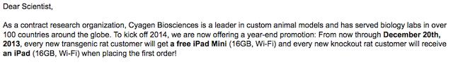 every new transgenic mouse customer will get a free iPad mini