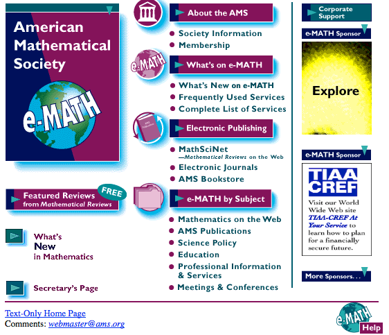 e-math: website of the American Mathematical Society