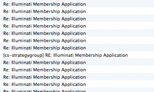 """Illuminati Membership Application"" repeated many times"