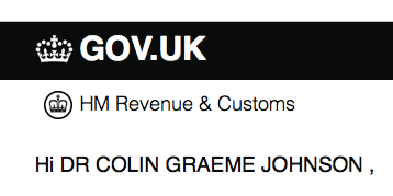 HMRC: Hi DR COLIN GRAEME JOHNSON