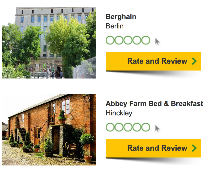 Berghain, Berlin; Abbey Farm Bed and Breakfast, Hinckley