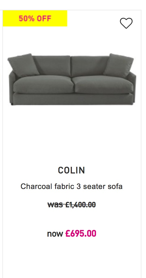 Colin: 3 seater charcoal fabric sofa